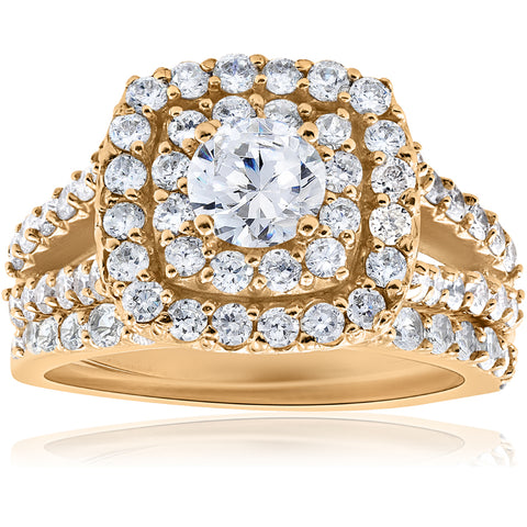 2ct Diamond Engagement Double Cushion Halo Wedding Ring Set 10k Yellow Gold