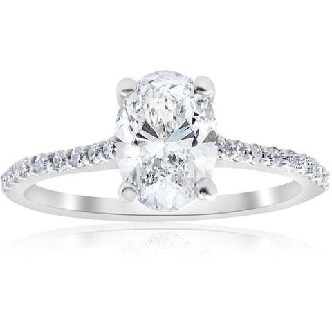 1 1/10ct Oval Diamond Engagement Ring 14k White Gold Jewelry