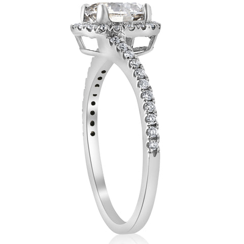 1 1/3ct Diamond Halo Twist Engagement Ring 1ct Center 14k White Gold Enhanced