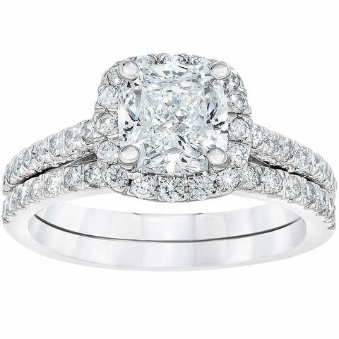 G/SI 2.25cttw Cushion Halo Diamond Engagement Wedding Ring Set 14k White Gold