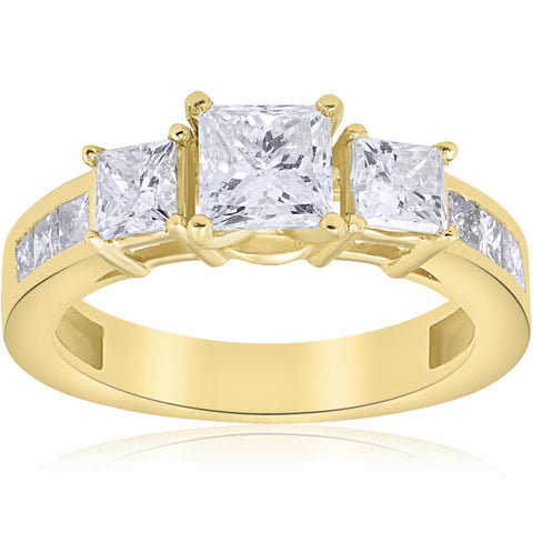 2 1/2 ct Princess Cut Diamond Engagement Ring 1ct Center Enhanced Yellow Gold