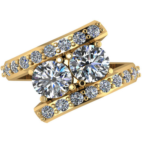 G/SI 2.70ct Diamond Enhanced Two Stone Forever Us Engagement Ring Yellow Gold