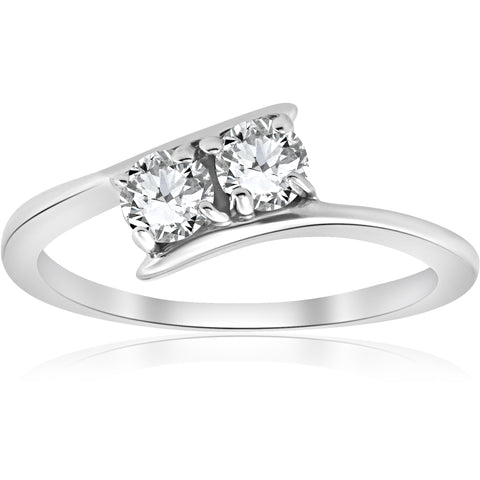 1/2 ct Two Stone Diamond Forever Us Engagement Anniversary Ring White Gold