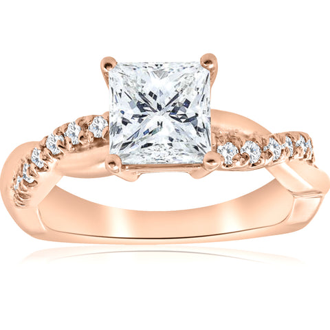 G/SI 1 1/6ct Princess Cut Diamond (1ct center) Infinity Engagement Ring Enhanced