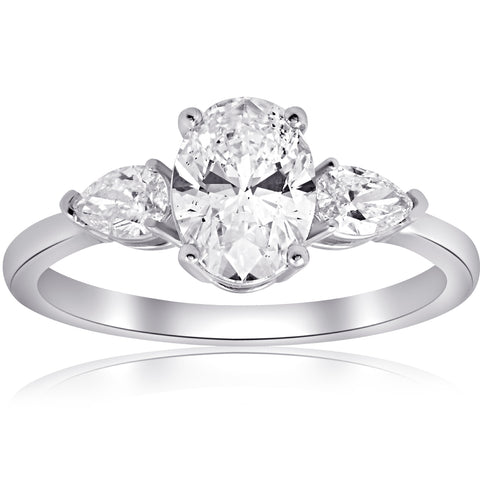 H/SI 1.40CT Oval & Pear Shape Diamond Engagement Ring 14k White Gold