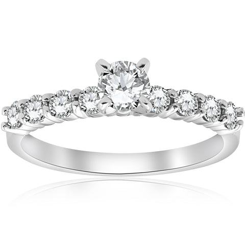 1 ct TDW Real Diamond Engagement Ring Solitaire 14k White Gold Round Cut