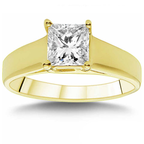 SI 1 CT Princess Cut Diamond Solitaire Engagement Ring 14k Yellow Gold Enhanced