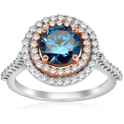 G/SI 2.10ct Double Halo Blue Diamond 14k Rose & White Gold Halo Engagement Ring