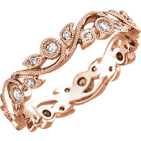 G/SI .25ct Diamond Eternity Ring 14k Rose Gold Scroll Vintage Leaf