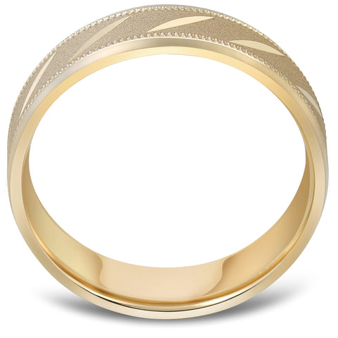 Mens 10k Yellow Gold 6MM Brushed Carved Wedding Band Comfort Fit Ring