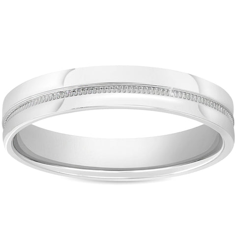 Mens 10k White Gold 4mm Flat Band High Polished Milgrain Accent Wedding Ring