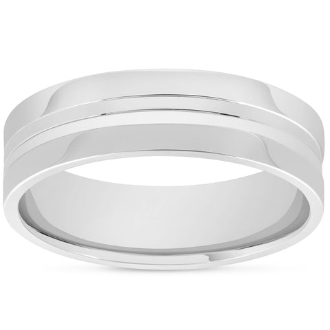 Mens 10k White Gold 6mm Band High Polished Convex Groove Accent Wedding Ring