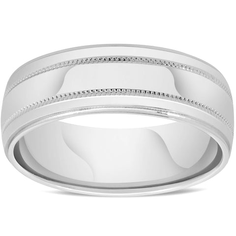 Mens 10k White Gold 7mm Band High Polished Double Milgrain Accent Wedding Ring