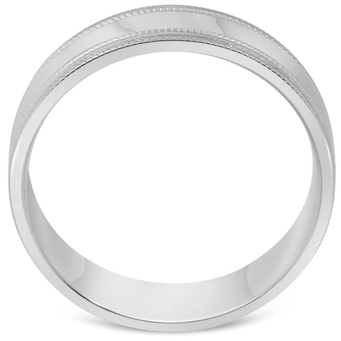 Mens 10k White Gold 6mm Band High Polished Double Milgrain Accent Wedding Ring