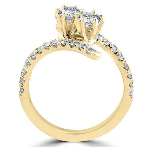 1 cttw Diamond 2 Stone Forever Us Engagement Anniversary Ring 14k Yellow Gold