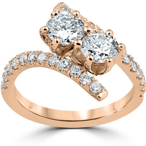 1 cttw Diamond 2 Stone Forever Us Engagement Anniversary Ring 14k Rose Gold