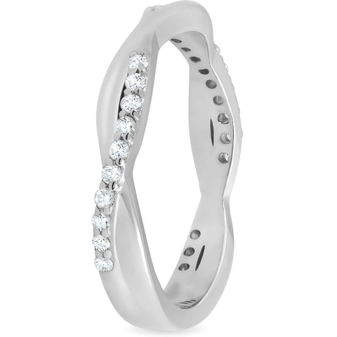 1/4 ct Diamond Twisted Vine Womens Wedding Ring 14k White Gold