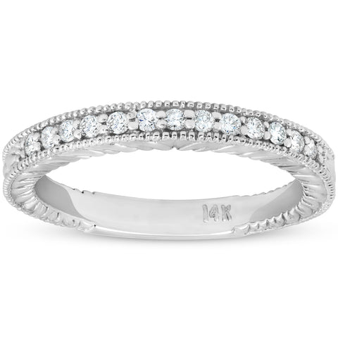 G/SI .20ct Diamond Vintage Womens Wedding Ring Stackable 14k White Gold Band