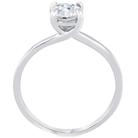 G/SI .75ct Diamond Solitaire Engagement Ring 14K White Gold Round Cut Enhanced
