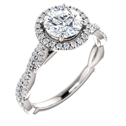 G/SI 1.33ct Diamond Halo Interwoven Engagement Ring 14k White Gold Enhanced