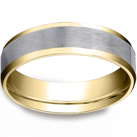 Mens 10k Gold 6MM Satin Wedding Band Flat Beveled Edge Two Tone Ring