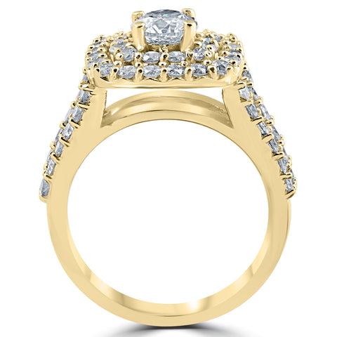 3ct Diamond Engagement Wedding Double Cushion Halo Trio Ring Set 10k Yellow Gold