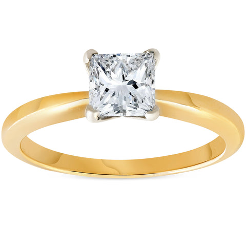 G/SI 1ct Princess Cut Diamond Solitaire 14k Yellow Gold Engagement Ring Enhanced