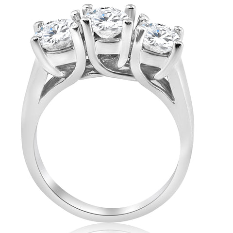 G/SI 1ct Three Stone Diamond Engagement Ring 14k White Gold Enhanced
