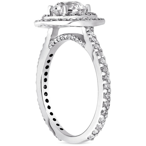 G/SI 1.80CT Round Double Halo Diamond Engagement Ring 14k White Gold Enhanced