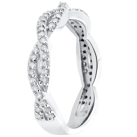 1/3ct Diamond Woven Vine Wedding Ring Stackable Intertwined Band White Gold