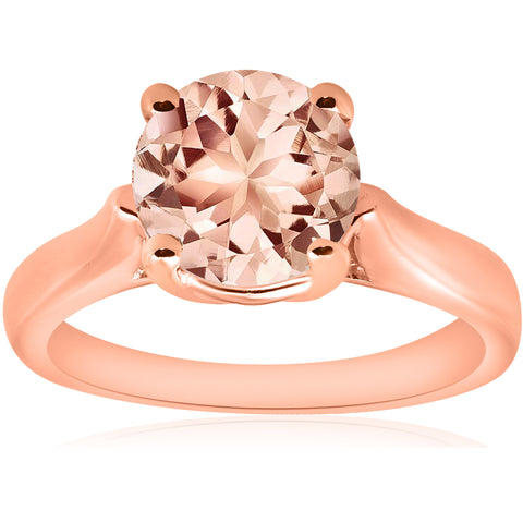 8MM Round 1 3/4CT Genuine Morgranite 14k Rose Gold Solitaire Engagement Ring