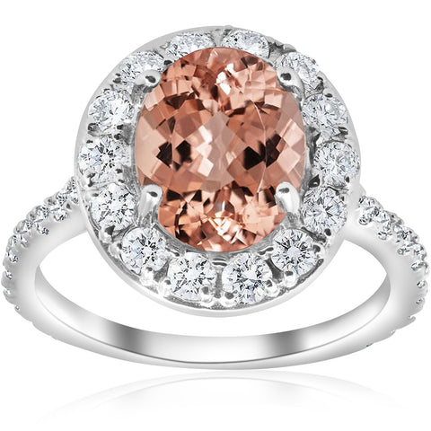 G/SI 3 ct Oval Halo Morganite Diamond Vintage Engagement Ring 14k White Gold