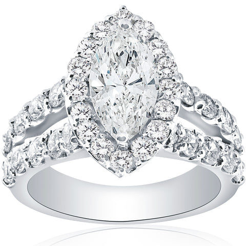 G-SI 2 1/2ct Marquise Diamond Halo Split Shank Engagement Ring 14k White Gold