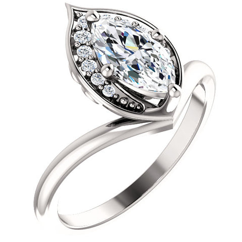1 1/10ct Diamond Marquise Halo Engagement Ring 14k White Gold Enhanced