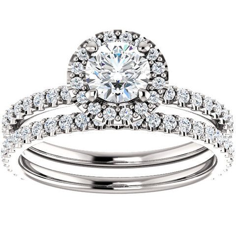 1 1/10 Ct Diamond Halo Engagement Wedding Ring Set 14k White Gold