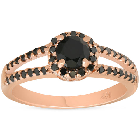 1 ct Black Diamond Halo Split Shank 14k Rose Gold Engagement Ring Color Enhanced