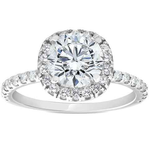 G/SI 1.40ct Diamond Cushion Halo Engagement Ring 14k White Gold Enhanced