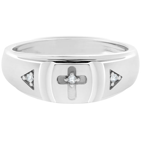 Mens White Gold Diamond Cross Ring 10k High Polished Wedding Anniversary Band