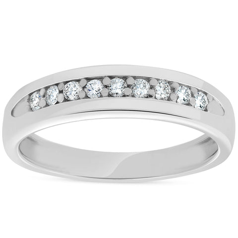 Mens 1/4ct White Gold Diamond Ring 10k High Polished Wedding Anniversary Band