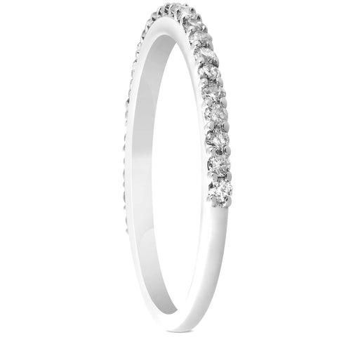 1/4ct Diamond Wedding Ring 14k White Gold Stackable Womens Anniversary Band