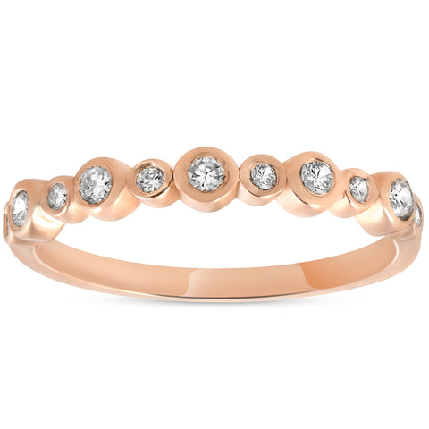 1/3ct Diamond Wedding Ring 14k Rose Gold Stackable Womens Anniversary Band