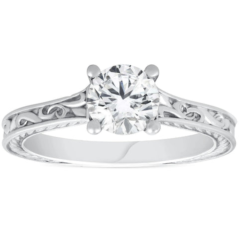 G/SI 1ct Solitaire Round Cut Vintage Diamond Engagement Ring White Gold Enhanced