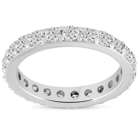 1 1/2 ct Diamond Eternity Ring 14k White Gold Common Prong Stackable Band