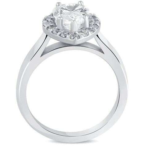 G/SI 1.85 ct Pear Shape Diamond Halo Engagement Ring 14k White Gold Enhanced