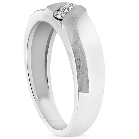 Mens 1/5ct White Gold Diamond 6.5mm Brushed Wedding Curve Anniversary Band