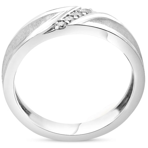 Mens 1/10ct White Gold Diamond Ring Flat Classic Bushed Wedding Anniversary Band