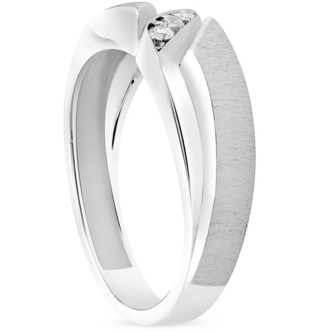 Mens 1/10ct White Gold Diamond Ring Contour Brushed Three Stone Wedding Band