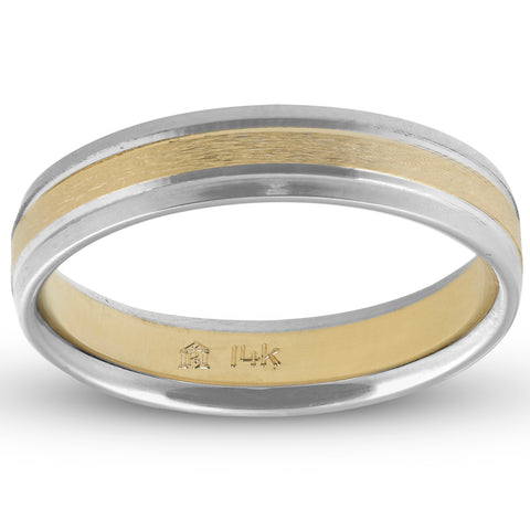 4MM 14k White & Yellow gold Two Tone Satin Womens Wedding Band Ring