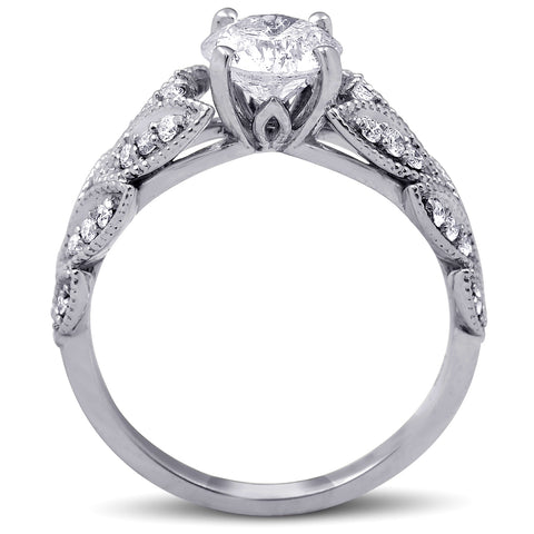 G/SI 1ct Diamond Engagement Ring Vintage Petal Vine Leaf 14k White Gold Enhanced