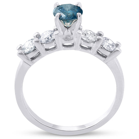 1 1/2ct Blue & White Diamond Engagement Ring 14k White Gold